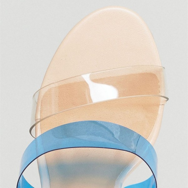 Blue and Pink PVC Chunky Heel Clear Sandals Slingback Heels Sandals image 3