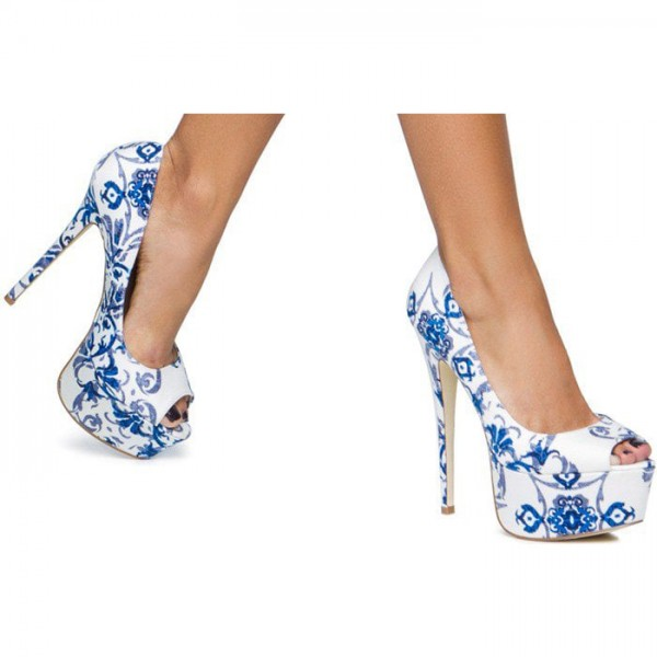 Blue and White Floral Heels Peep Toe Platform High Heels Pumps image 2
