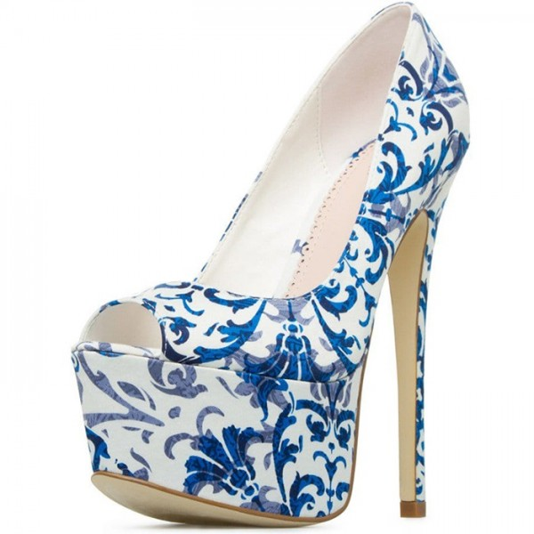 Blue and White Floral Heels Peep Toe Platform High Heels Pumps image 3