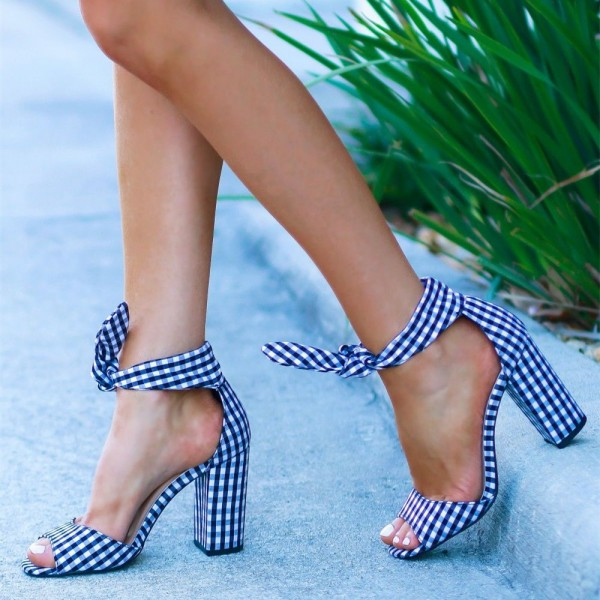 Blue and White Plaid Chunky Heels Peep Toe Bow Ankle Strap Sandals image 1