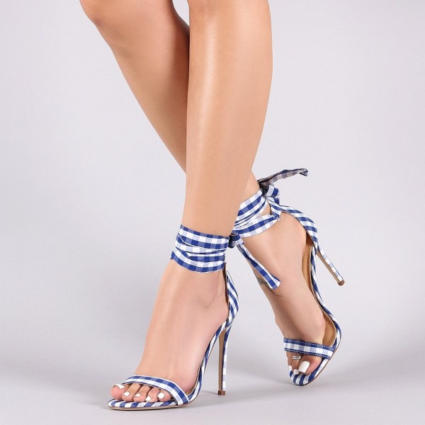 Blue And White Heels
