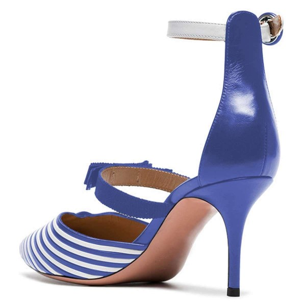 Blue and White Stripe Ankle Strap Stiletto Heels Pumps image 3