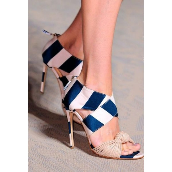 Blue and White Stripes Stiletto Heels Open Toe Strappy Sandals image 2