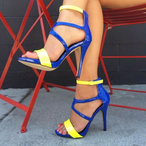 Yellow and Blue Open Toe Stiletto Heels Buckle Stylish Strappy Sandals image 1