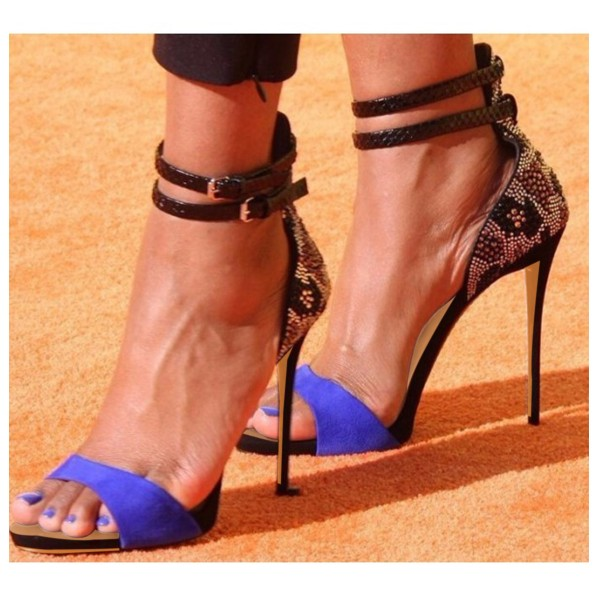 Blue Evening Shoes Ankle Strap Sandals Rhinestone Stiletto Heels image 2