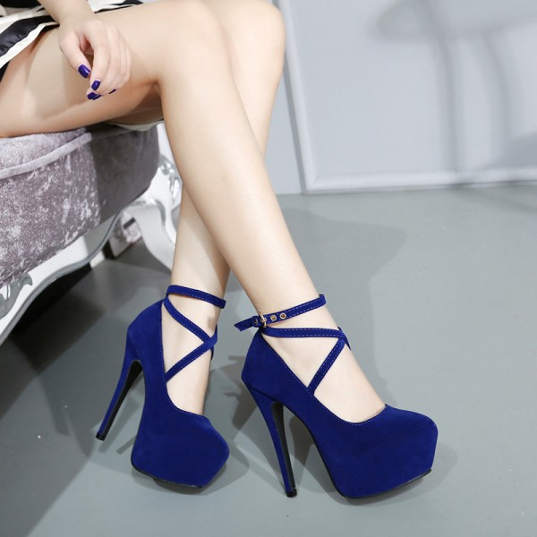 Navy Platform Heels Cross-over Strap Suede Stiletto Heels Pumps image 3