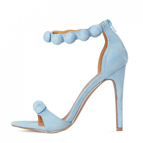 Light Blue Ankle Strap Sandals Open Toe Stiletto Heels image 3
