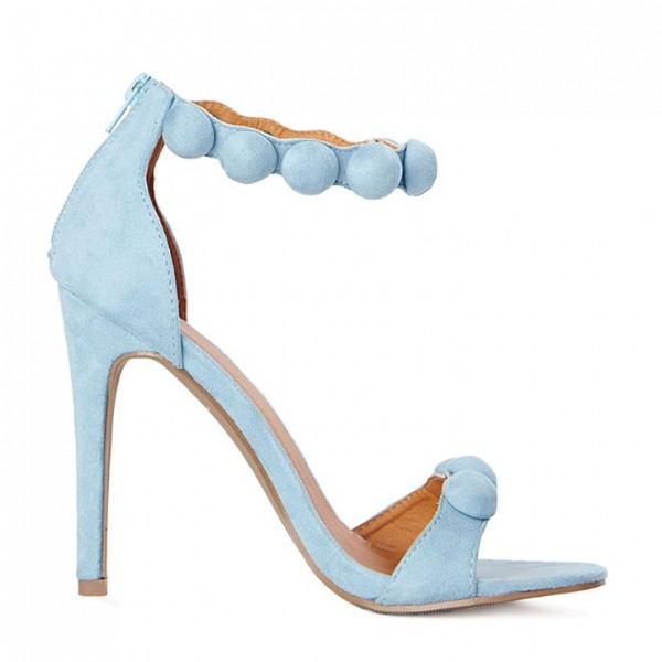Light Blue Ankle Strap Sandals Open Toe Stiletto Heels image 2