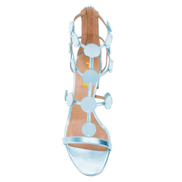 Light Blue Block Heel Gladiator Heels Sandals image 4