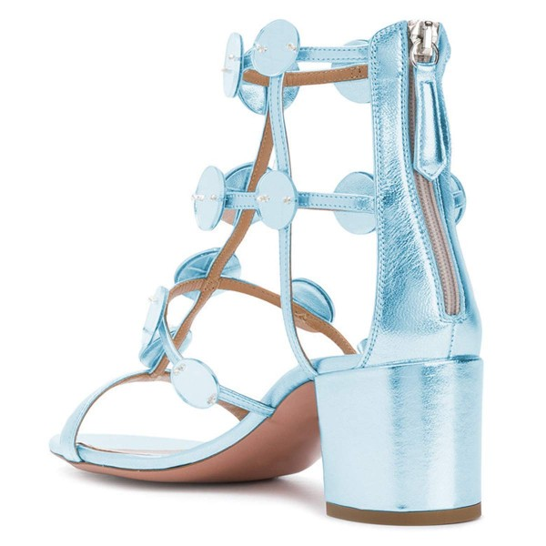 Light Blue Block Heel Gladiator Heels Sandals image 3