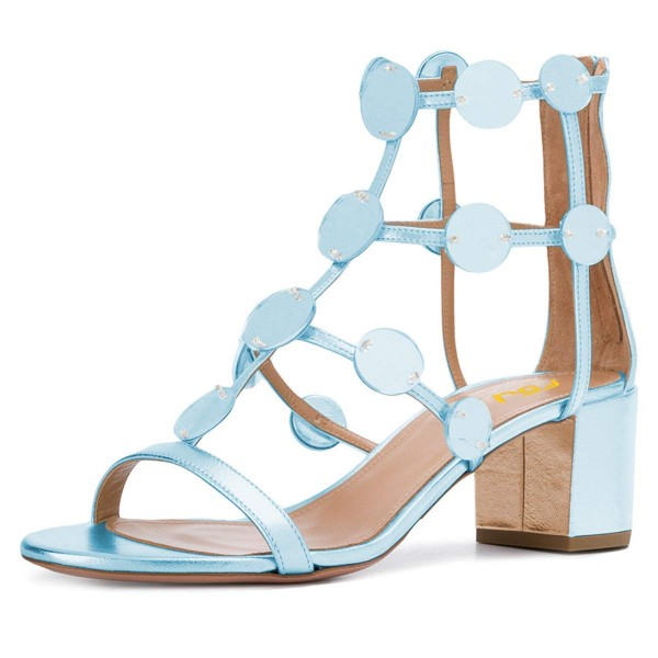 Light Blue Block Heel Gladiator Heels Sandals image 1