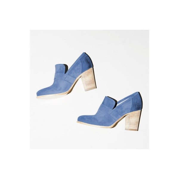 Blue Round Toe Block Heels Suede Heeled Loafers for Women image 2