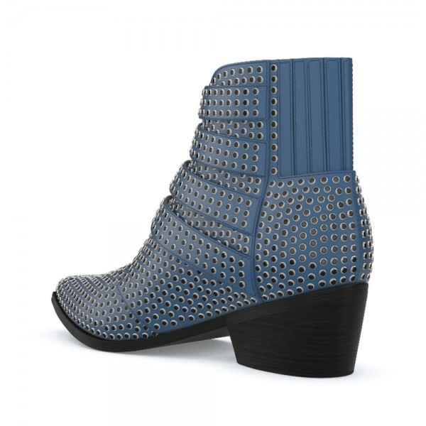 Blue Buckles Studs Fashion Boots Block Heel Ankle Boots image 2