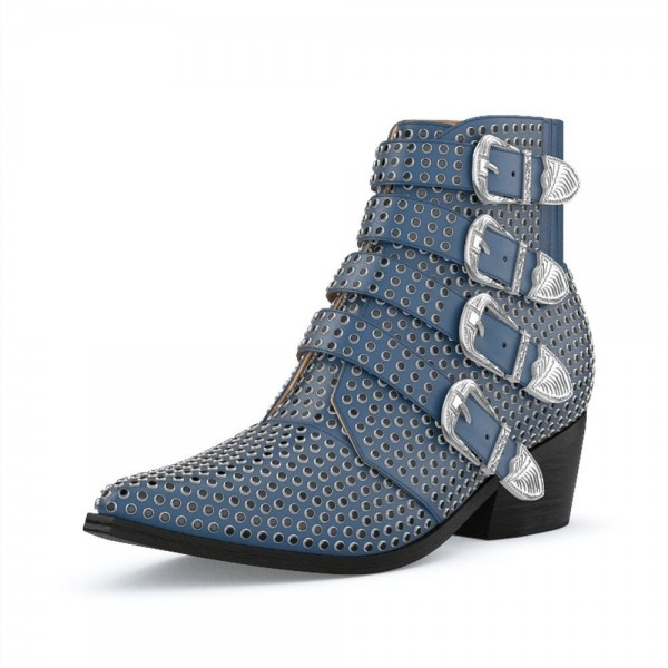 Blue Buckles Studs Fashion Boots Block Heel Ankle Boots image 1