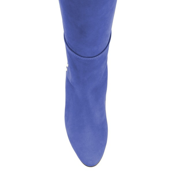 Blue Chunky Heel Long Boots Knee High Boots image 3
