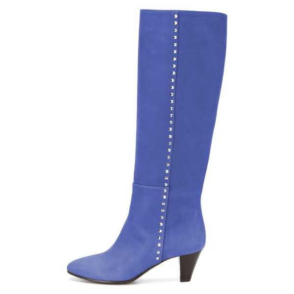 Blue Chunky Heel Long Boots Knee High Boots image 2