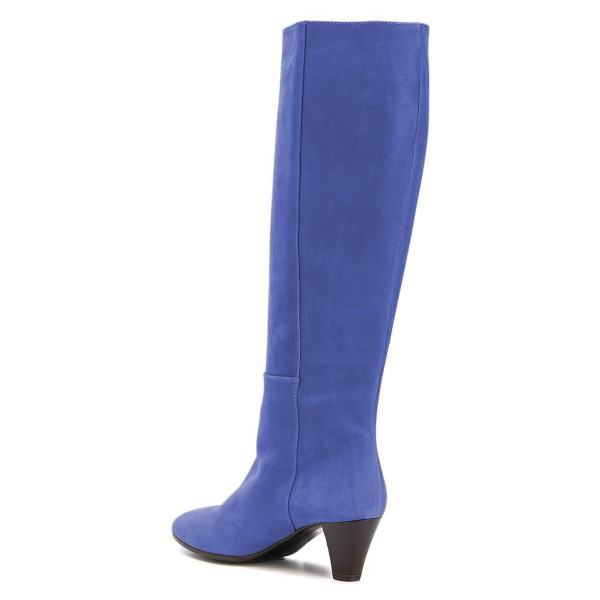 Blue Chunky Heel Long Boots Knee High Boots image 4