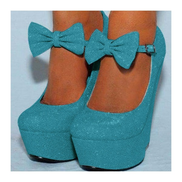Blue Closed Toe Wedges Sparkly Platform Pumps for Prom image 1