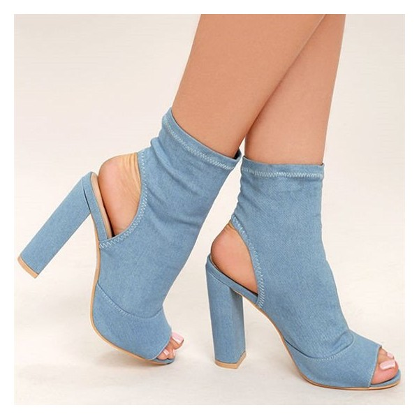 Light Blue Denim Boots Peep Toe Slingback Chunky Heel Sock Boots image 4