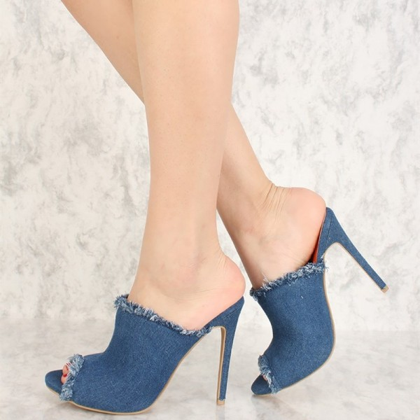 Blue Denim Peep Toe Stiletto Heel Mules Sandals image 2