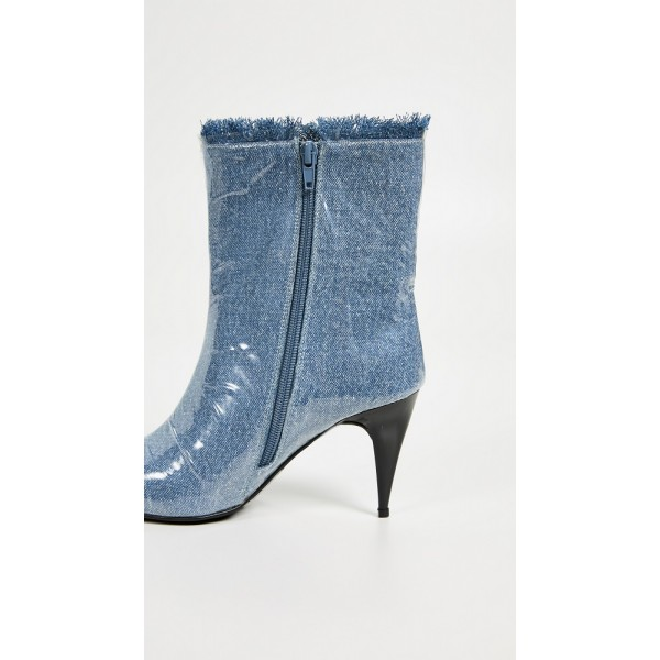 Blue Denim Pointy Toe Clear PVC Cone Heel Fashion Boots image 5