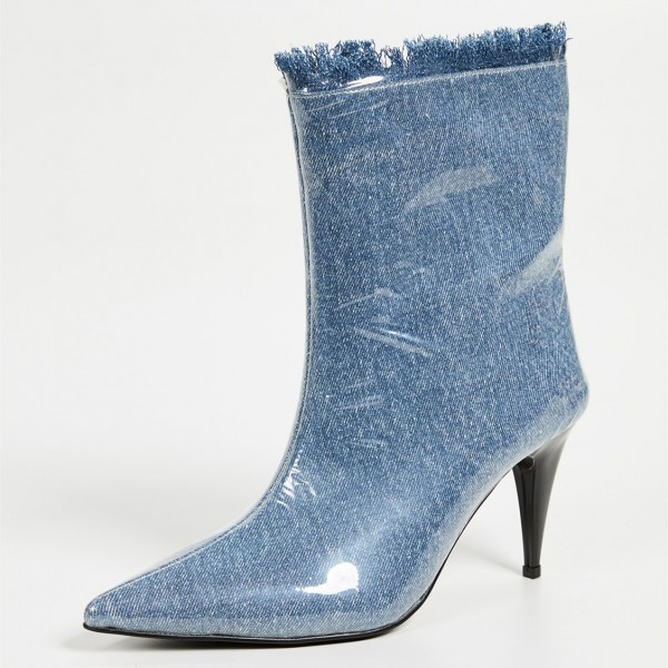 Blue Denim Pointy Toe Clear PVC Cone Heel Fashion Boots image 2