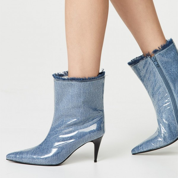 Blue Denim Pointy Toe Clear PVC Cone Heel Fashion Boots image 1