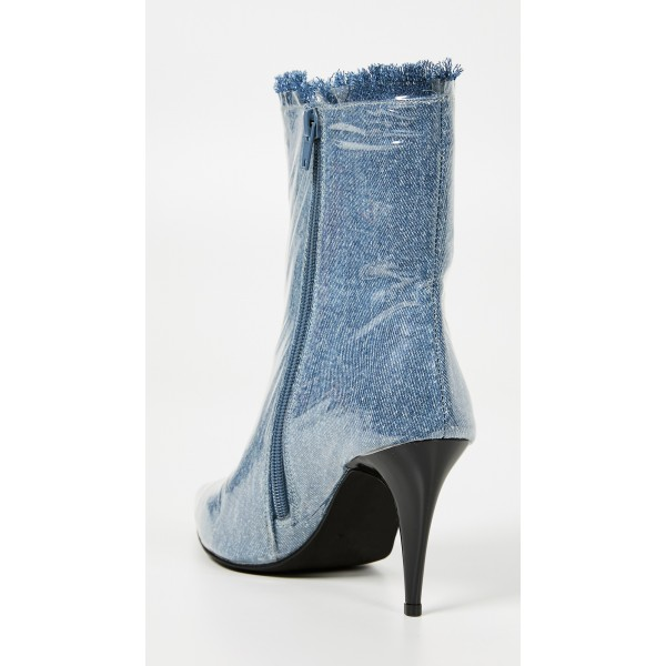 Blue Denim Pointy Toe Clear PVC Cone Heel Fashion Boots image 3