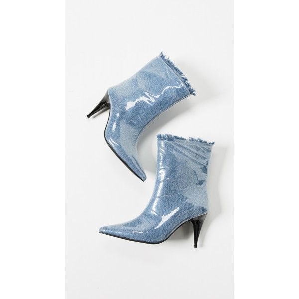 Blue Denim Pointy Toe Clear PVC Cone Heel Fashion Boots image 4