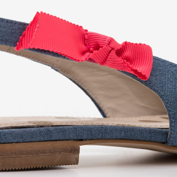 Blue Denim Pointy Toe Flats Sequined Slingback Shoes image 3