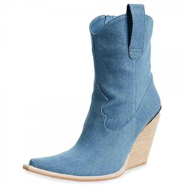 Blue Denim Square Toe Cowgirl Boots Chunky Heels Ankle Booties image 2