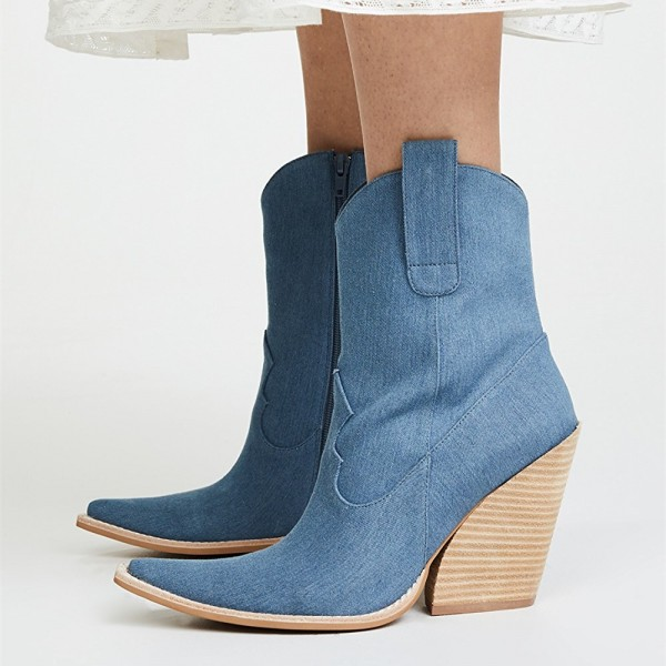 Blue Denim Square Toe Cowgirl Boots Chunky Heels Ankle Booties image 1