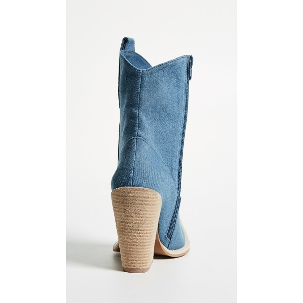 Blue Denim Square Toe Cowgirl Boots Chunky Heels Ankle Booties image 3