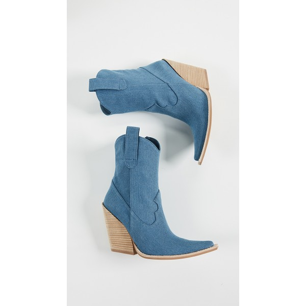 Blue Denim Square Toe Cowgirl Boots Chunky Heels Ankle Booties image 4