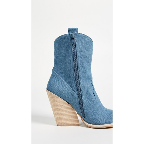 Blue Denim Square Toe Cowgirl Boots Chunky Heels Ankle Booties image 5