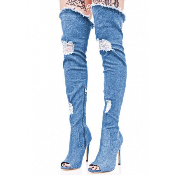 Blue Jeans Stiletto Heel Long Boots Peep Toe Over-the-Knee Denim Boots image 4