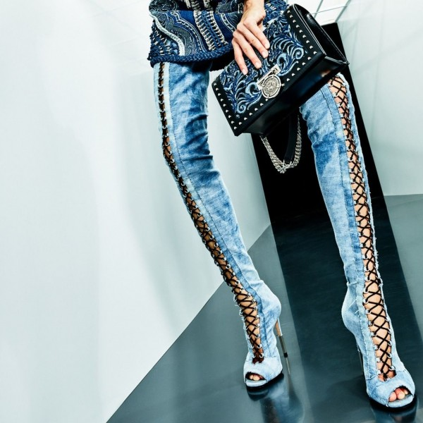 Blue Denim Thigh High Lace up Boots Peep Toe Jean Long Boots image 1