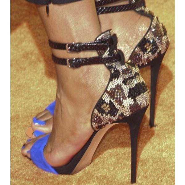 Blue Evening Shoes Ankle Strap Sandals Rhinestone Stiletto Heels image 3