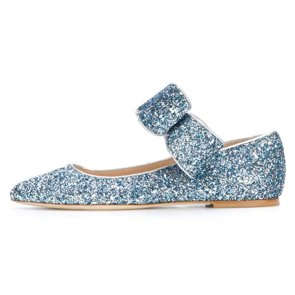 Blue Glitter Bow Pointy Toe Comfortable Flats  image 2