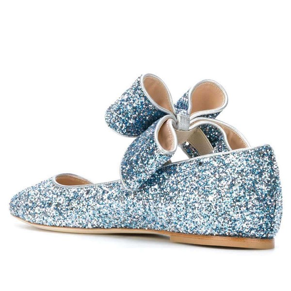 Blue Glitter Bow Pointy Toe Comfortable Flats  image 4