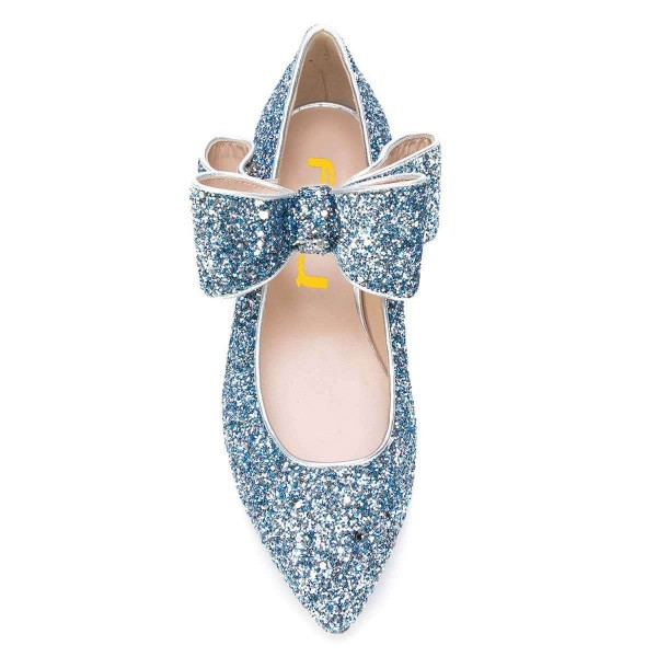 Blue Glitter Bow Pointy Toe Comfortable Flats  image 3