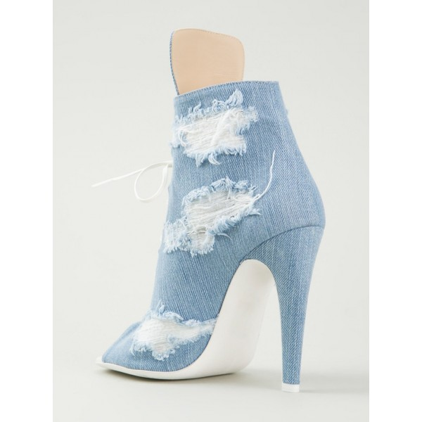 Women's Denim Boots Stiletto Heels Peep Toe Heels Ankle Booties image 7