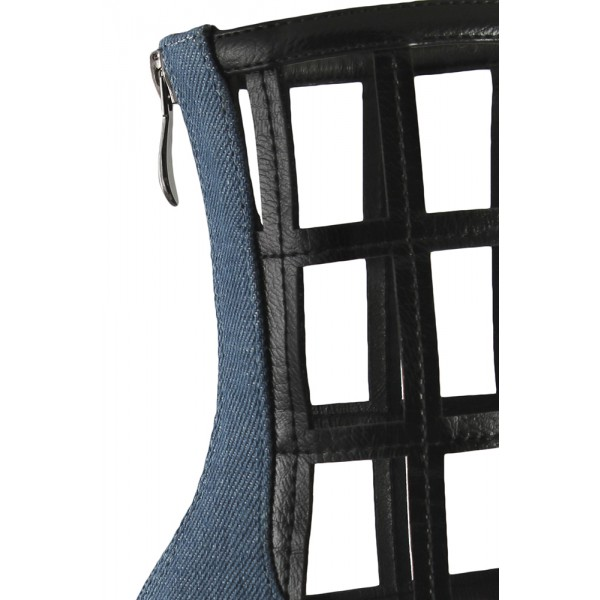 Blue Jeans Grid Fashion Boots Pointy Toe Chunky Heels Ankle Boots image 2