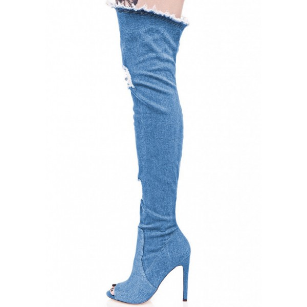 Blue Jeans Stiletto Heel Long Boots Peep Toe Over-the-Knee Denim Boots image 2