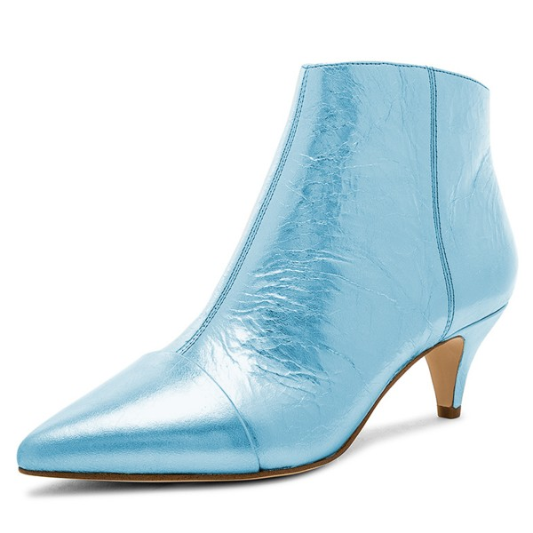 Blue Kitten Heel Boots Pointy Toe Fashion Ankle Booties image 1