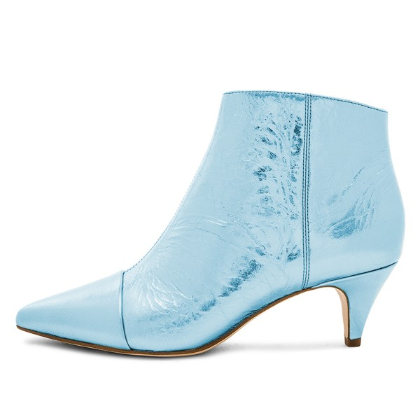 Blue Kitten Heel Boots Pointy Toe Fashion Ankle Booties image 3