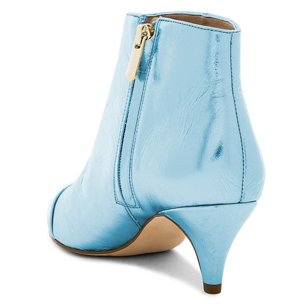 Blue Kitten Heel Boots Pointy Toe Fashion Ankle Booties image 4