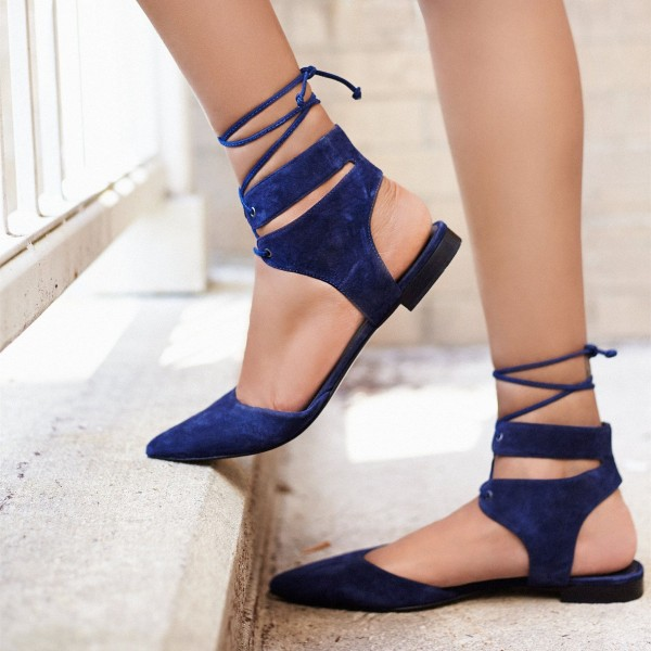 Blue Suede Lace up Slingback Pointy Toe Flats Strappy Ballet Shoes image 1