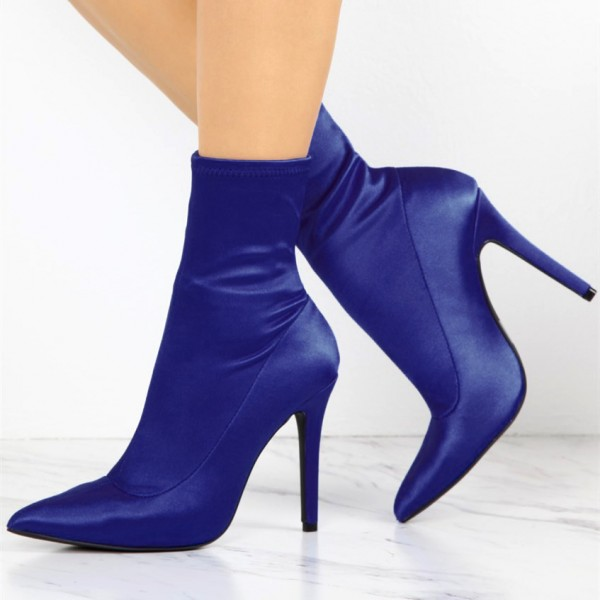 Blue Lycra Sock Boots Pointy Toe Stiletto Heel Ankle Booties image 1