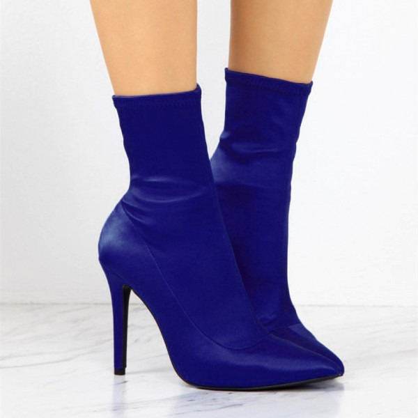 Blue Lycra Sock Boots Pointy Toe Stiletto Heel Ankle Booties image 2